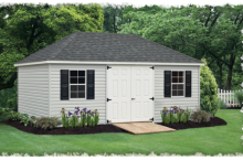 Standard Villa 12′ x 20′ • Heritage grey vinyl siding, white doors and trim, black shutters, black architectural shingles, larger windows
